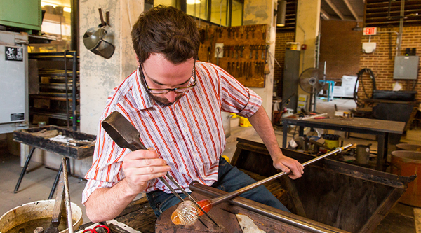 Glassblowing Student